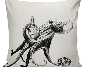 Pirate Octopus Rum Cushion Pillow Cover cotton canvas throw pillow 18 inch square #UE0136 Urban Elliott