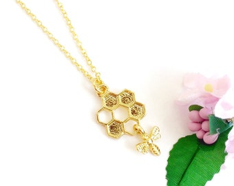 Little Bee Hive Charm Necklace