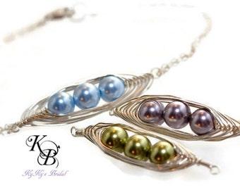 Bridesmaid Bracelet, Sterling Silver Bracelet, Peapod Jewelry, Bridesmaid Jewelry, Pearl Bracelet, Bridesmaid, Pearl Bridesmaid Jewelry