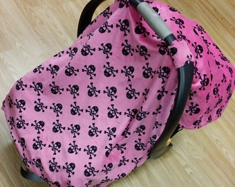 Pink Skulls, car seat canopy tent