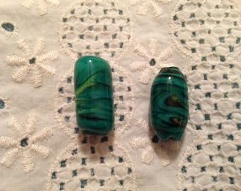 Two Handmade Green/Blue Swirl Glass Beads