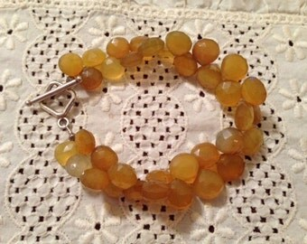 Handcrafted Faceted Briolette Amber Chalcedony Bracelet