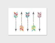 Arrow Print, 5x7, Instant Download, Arrow Art Print, Native Arrow Wall Art, Navajo Wall Art, Tribal Arrow Art, Nursery Arrow Print, Arrow