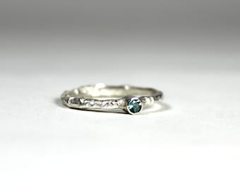 Aquamarine Sterling Silver Band