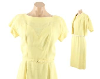 Vintage 60s Wiggle Dress Bolero Jacket Suit Short Sleeve Dress Womens Spring Summer Wedding Guest Fashion 1960s Small S Medium M