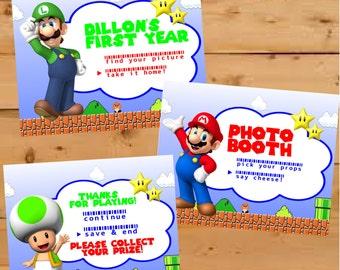 Super Mario Brothers Birthday Decor, Super Mario Bros Party Signs, Birthday Party Signs, Nintendo Super Mario Bros Birthday, Mario Brothers