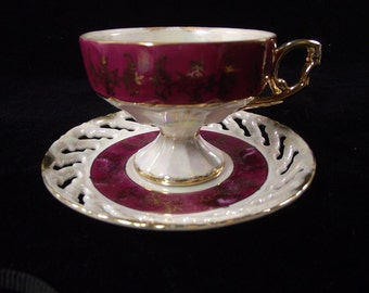 Vintage Burgandy Japanese Lusterware Reticulated Tea Cup and Saucer