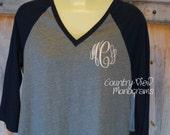 Womens Raglan Baseball Monogram Shirt--Womens Sizes Three Quarter Sleeve Length Baseball Monogram