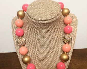 Pink/coral/gold bubblegum necklace photography prop