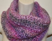 Purple pink and gray accents cowl, crochet cowl,infinity scarf, neck warmer, loose cowl, women crochet scarf, winter scarf, crochet loop
