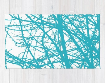 Turquoise Area Rug - Contemporary Tree Branches Area Rug - Modern Nature Decor - Branches Print - Bedroom Area Rug - Living room Rug