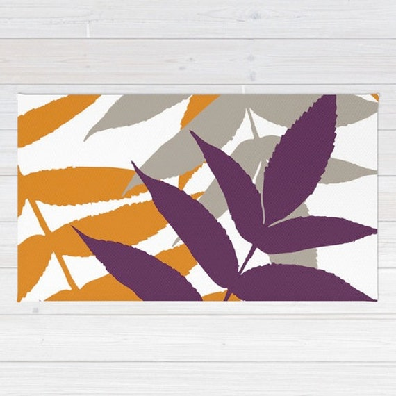 Botanical Area Rug Fern Rug Orange Purple Taupe By Aldarihome