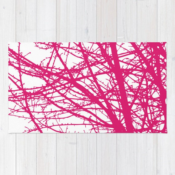 Pink And White Area Rug Contemporary Tree Branches Area Rug