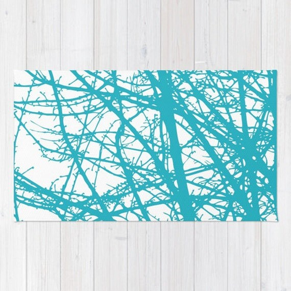 San Juan Turquoise Accent Rug: Turquoise Area Rug Contemporary Tree Branches Area Rug
