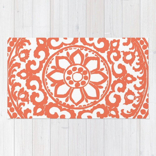 Floral Medallion Rug Coral And White Art Deco Flower Area