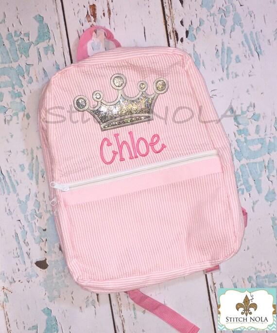 Princess Crown Seersucker Backpack/Diaper Bag, Seersucker Diaper Bag, Seersucker School Bag, Seersucker Bag, Diaper Bag, School Bag, Book Ba