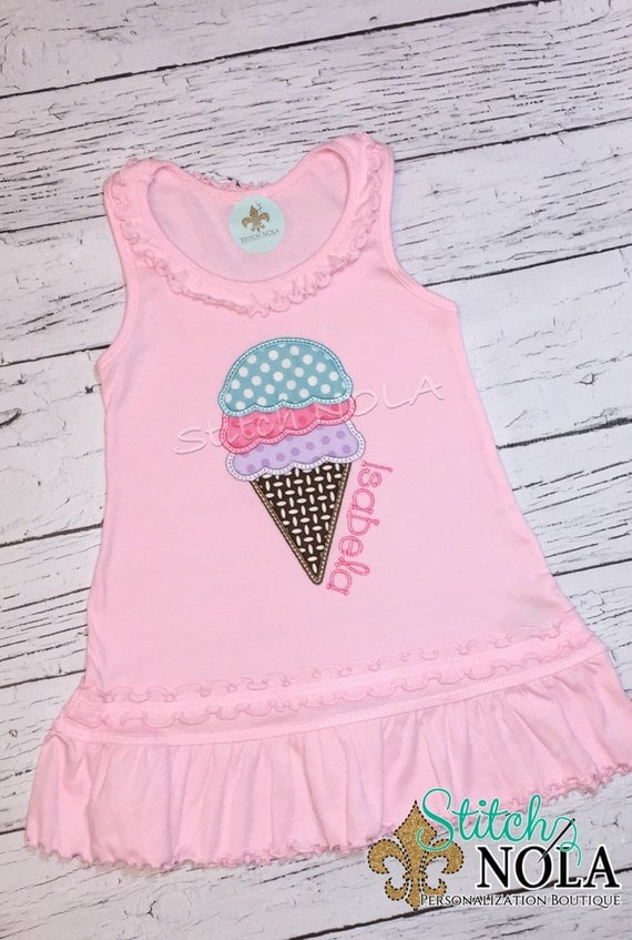 Sleeveless Summer with Ice Cream Applique