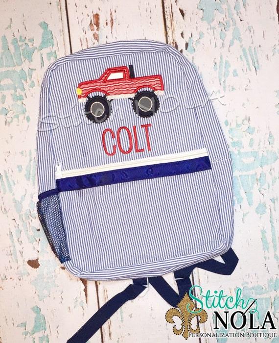 Seersucker Backpack with Monster Truck, Seersucker Diaper Bag, Seersucker School Bag, Seersucker Bag, Diaper Bag, School Bag, Book Bag, Back