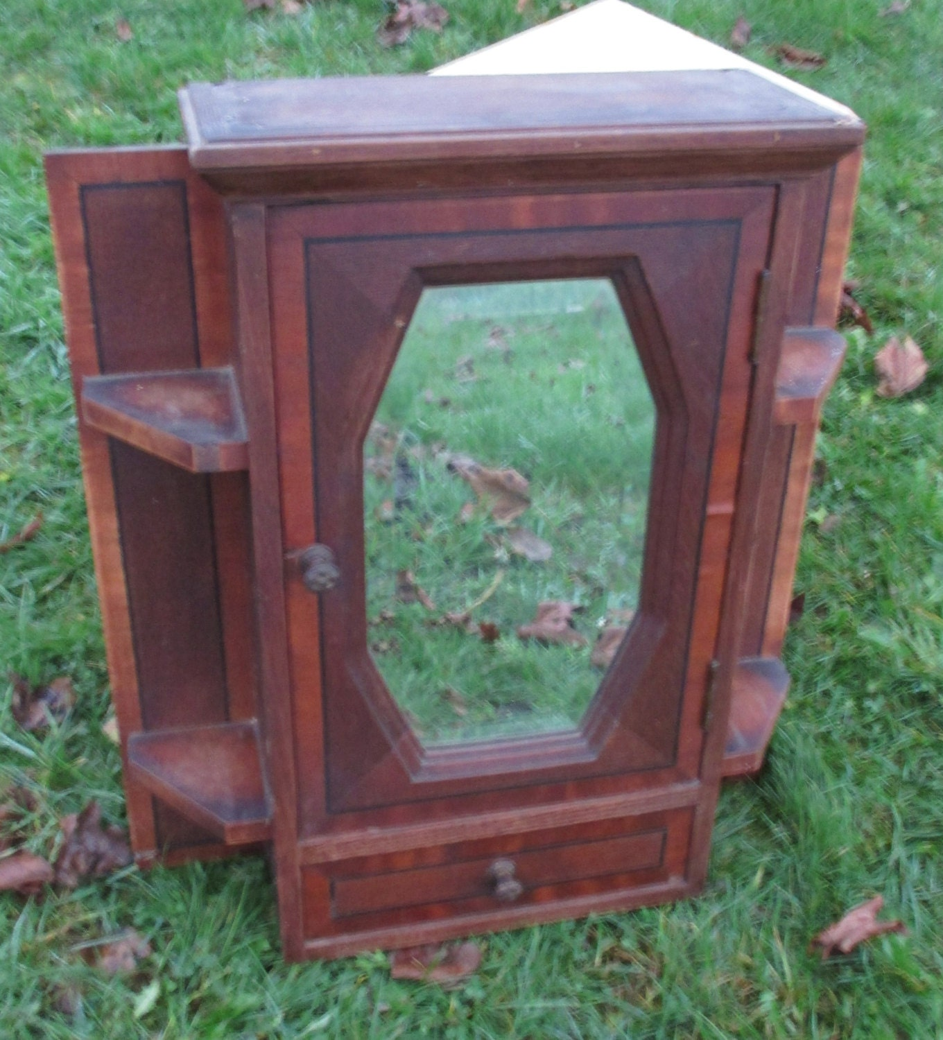 Antique French Wood Art Deco Bathroom Medicine Wall Cabinet Beveled Glass Inlay Haute Juice