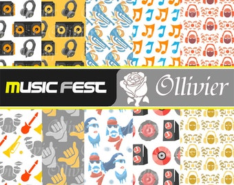 "Music themed digital paper: ""Music Fest"" with music festival, dj, electronic music themed papers, for scrapbooking, cards, invites and more!"