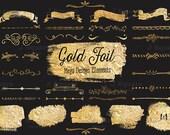 Gold Foil Text Divider/ Ribbon/ Blotch Clip Art Mega Pack- 34 Gold Leaf Doodle Arts- for web and blog, photo overlays, holdiay decoration