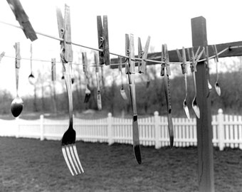 Hanging Silverware on a Clothesline – 8x10 Print - Black and White Photograph - Dining - Laundry