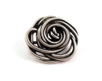 Rose Metal Buttons 20mm Antique Silver Flower Qty 3