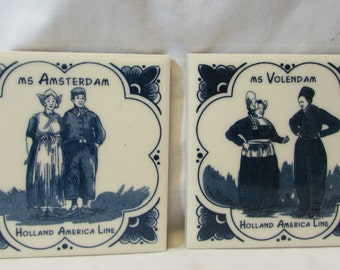 Vintage Delft Tiles, Set of Two, Holland American Line, 1980's