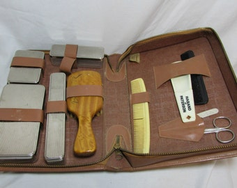 Dopp Kit, Men's, Leather Zip Case, 1950's