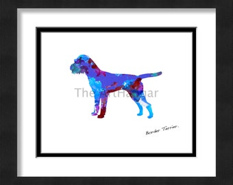 Border Terrier Dog Art Print, Giclée, Art, Print, Blue, Orange, Pink, Gift, Dog Wall Art, Digital Art, 8x10, 11x14, Dog Gift, Pet Decor