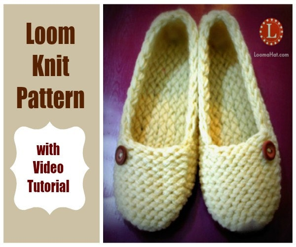 Knitting Shoes Tutorial : Loom knitting patterns ladies slippers with video tutorial by