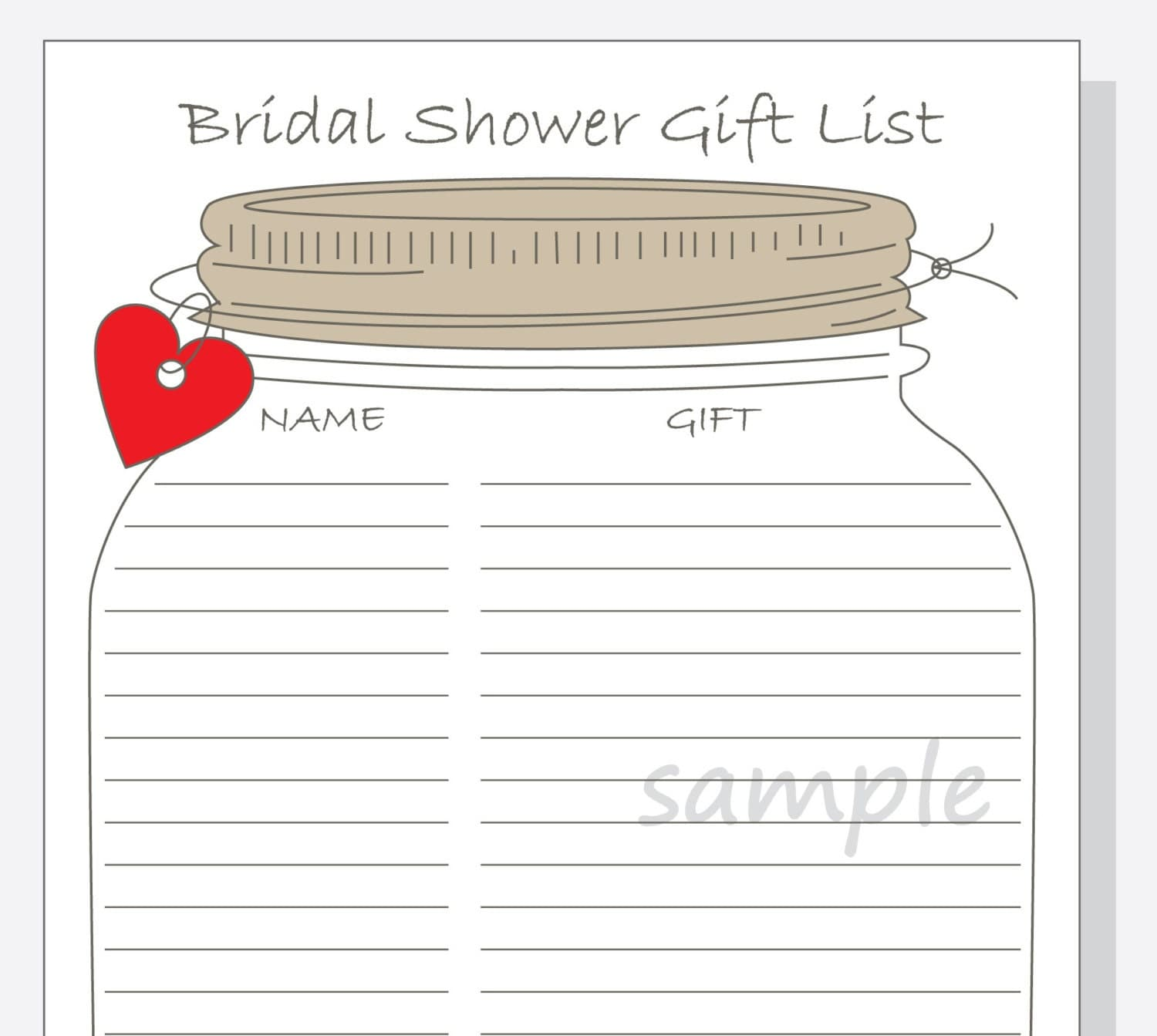 Bridal shower gift list printable diy mason jar design with for Wedding shower gift list template