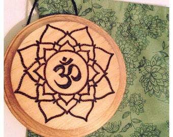 Hand Wood Burned Mandala Ohm Sign