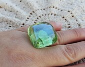 Bright Square Glass Candy Ring