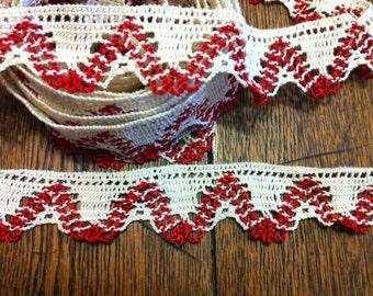 """112"""" Ecru & red lace trim"""