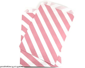 24 Pink Stripe Paper Bags | Stripe Party Bag | Pink Stripe Paper Bag | Party Favor Bag | Paper Party Bag | Pink Paper Bag