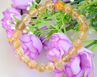 Natural Golden Rutilated Quartz Bracelet  Round 8mm Rutilated Quartz Bead Gemstone Beads Bracelet Beaded Elastic line  Bracelet