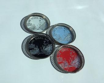 Vintage Las Vegas Metal set of Four Coasters
