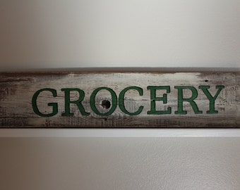 "Grocery Wood Sign -Reclaimed Wood Sign ""Grocery"" -Barnwood ""Grocery"" Sign"