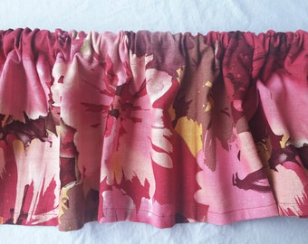 Hawaiian Flower Print Kitchen Valance Curtain