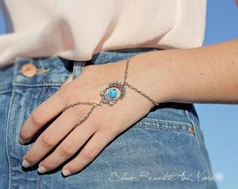 Slave Bracelet Silver Hand Piece Chain Antique Silver Turquoise Bohemian Boho Hippie Vintage Hand Body Jewelry Boho