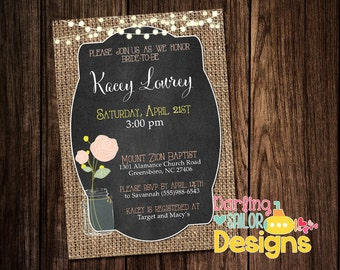 Rustic Bridal Shower Invitation, Print or Digital File, Vintage, Rustic Wedding, Mason Jar Invitation