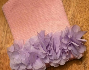 Newborn Hospital Hat! Pink with Lavender Flowers! 1st Keepsake! Newborn Beanies. Great Gift! Perfect for Photos!  Great Baby Shower!
