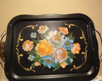 MidCentury Black Metal Serving Tray/Vintage Metal Kitchen Tray/ 1950's Vintage Kitchen/Industrial