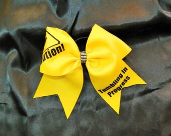 Caution Tumbling In Progress Cheer Bow Hair Bow