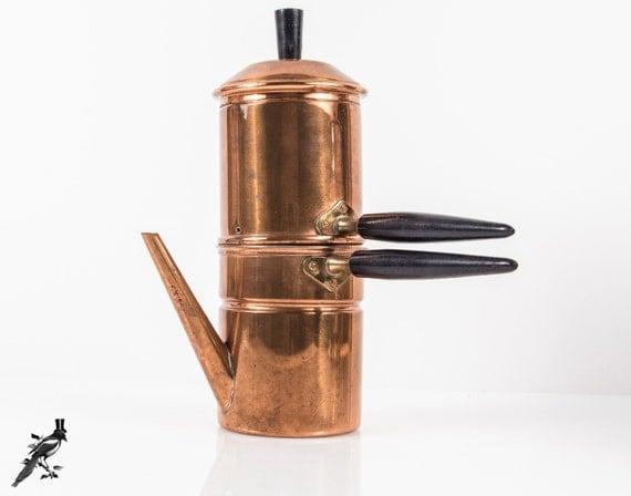 Neapolitan Flip Coffee Pot ~ Vintage copper piece neapolitan flip coffeepot coffee pot