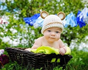 Teddy bear baby hat, baby bear hat, newborn bear hat, baby boy hat, cream bear hat, cream baby boy hat, animal baby hat, cream newborn hat
