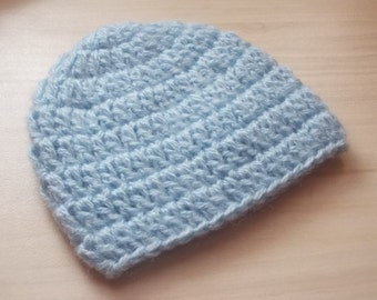 Newborn boy hat, mohair baby hat, baby boy hat, hospital hat, take home outfit, crochet baby hat, newborn outfit, newborn hat, blue baby hat