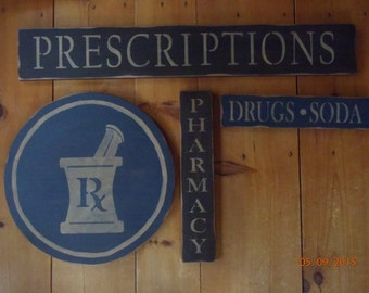 Pharmacy Signs Bathroom Sign Primitive Sign Prescription Sign Bathroom Sign Wood Sign Home Decor Trade Sign Wall Decor Country sign