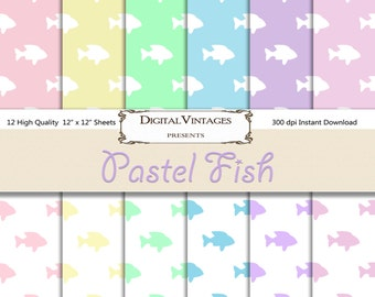 Fish Digital Paper, Pastel digital paper, Pet digital paper, digital scrapbook, fish background, Digital Background, fish patterned paper